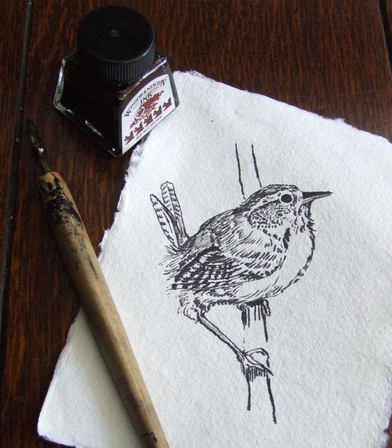 Inky Wren Original Handmade Ink Drawing on Khadi paper