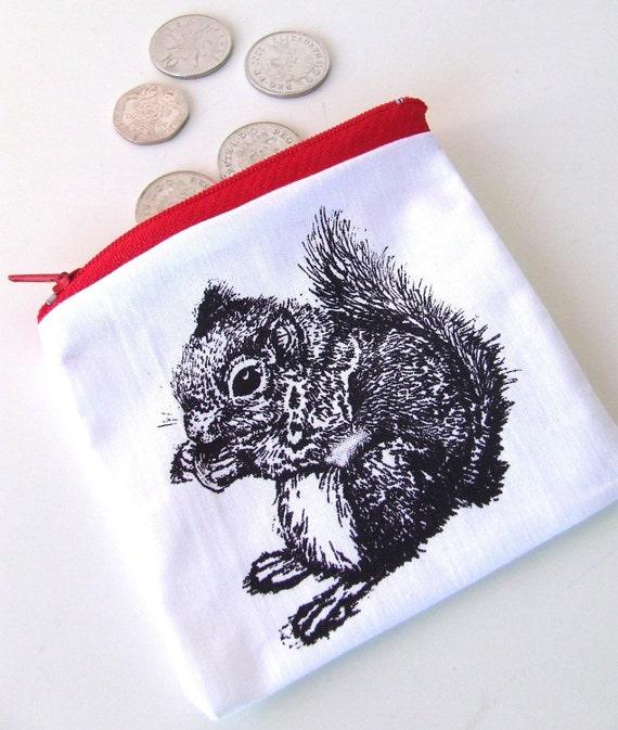 Black Squirrel Gocco Printed Zipper Pouch Coin Purse