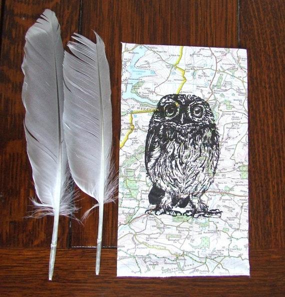 Sale Owl Gocco Print Traveller Owl Little Owl Map Print