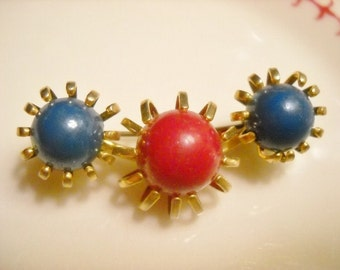 Vintage Red and Blue Brass Pin