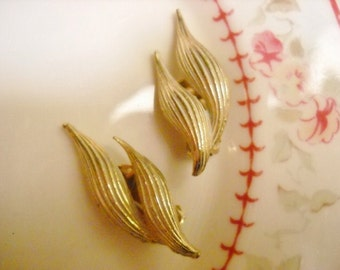 Vintage Gold and White Earrings