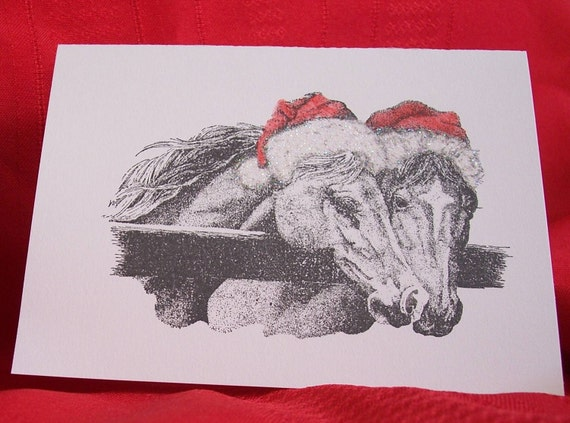 Horses in Santa Hats Christmas Cards