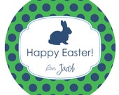 Personalized Easter Bunny Polka Dot Sticker Label- 2 inch (20 stickers)