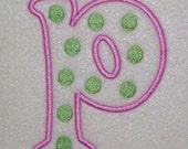 Polka Dots Embroidery Machine Monogram Alphabet Font Outline Set 149