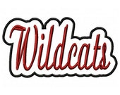 Wildcats Script with a Shadow Embroidery Machine Applique Design 2834