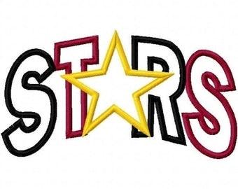 Stars Arc 2 Color Embroidery Machine Applique Design 2176