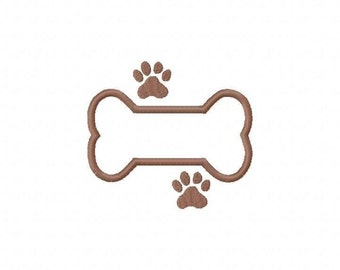 Dog Bone with Paw Print Embroidery Machine Applique Design 2184