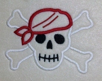 Skull and Crossbones Embroidery Machine Applique Design 1026 INSTANT DOWNLOAD