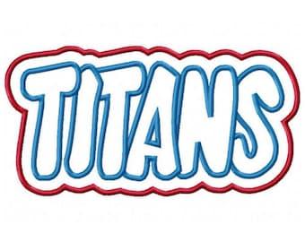 Titans Embroidery Machine Double Applique Design 2586