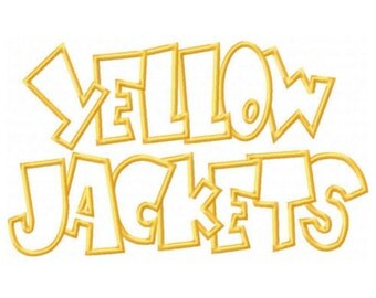 Yellow Jackets Embroidery Machine Applique Design 2612