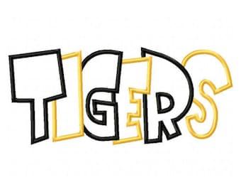 Tigers 2 Color Embroidery Machine Applique Design 2614