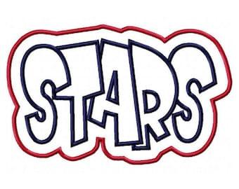 Stars Embroidery Machine Double Applique Design 2624
