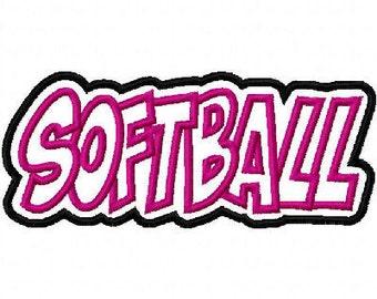 Softball Embroidery Machine Double Applique Design 2490