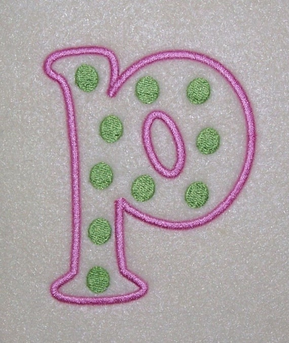 Polka dots embroidery machine monogram alphabet font outline