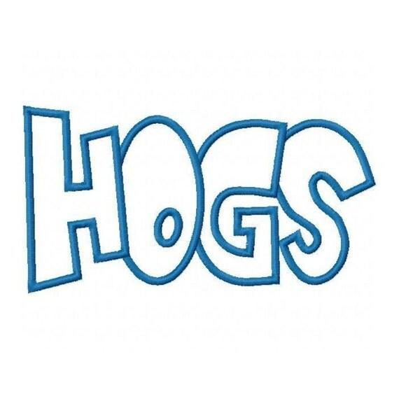 Hogs Embroidery Machine Applique Design 2354