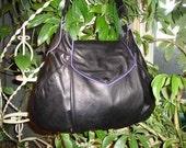 Recycled Black Leather Handbag