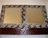 Mirror-Home Decor/Wall Mirror/ Etched Glass with Embellished Paper and Stones