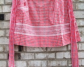 Vintage Apron-Red and White, Checkered, Antique, Embroidered, Half Arpon
