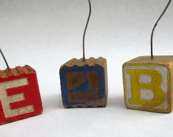 Picture Holder-Antique Letter Blocks/Kids Blocks/Baby Shower
