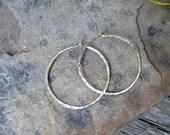 Medium hammered 14k.gold hoops