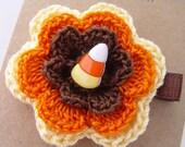 Halloween candy corn hair clip with crochet flower