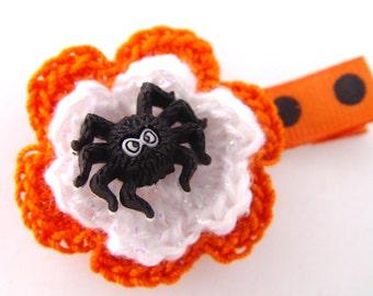 Halloween hair clip, black spider hair clip, kids hair clip, Halloween flower, cute spider hair clip, fun spider accessory