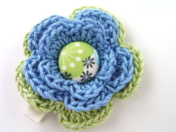 Mod Hair Clip, Crochet Flower Hair Clip, Kids Hair Clip, Girls Hair Clip