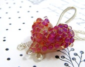 lucious fuschia lamp work heart pendant with sterling hand crafted bail