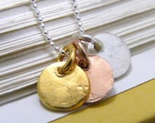 tri color tiny organic disc silver, rose gold and yellow gold textured charm disk necklace of sterling silver and vermeil