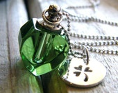 luck necklace green heart vial with sterling clover charm