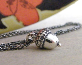 tiny acorn necklace, sterling silver