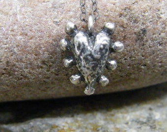 knobby heart sterling silver necklace