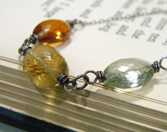 amazing faceted golden quartz, copper citrine, light green amethyst trio sterling silver necklace
