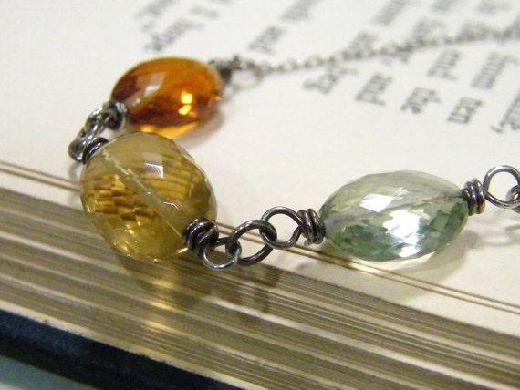 amazing faceted golden quartz, copper citrine, light green amethyst trio sterling silver necklace