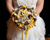Grey and Yellow Wedding Bride's Mini Pinwheel Bouquet by Rule42 Custom Made to Order