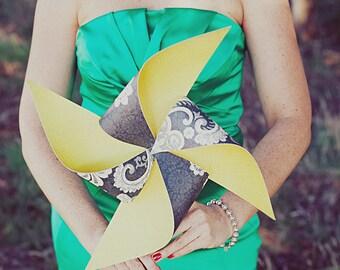 Custom Pinwheel Wedding Set of 4 Pinwheels and 4 Boutonnieres As Seen on StyleMePretty.com by Rule42
