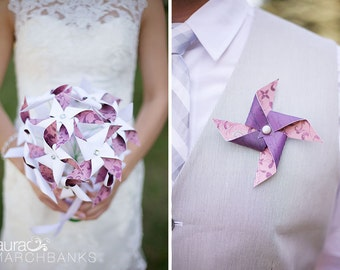 Pinwheel Bouquet and Boutonniere by Rule42