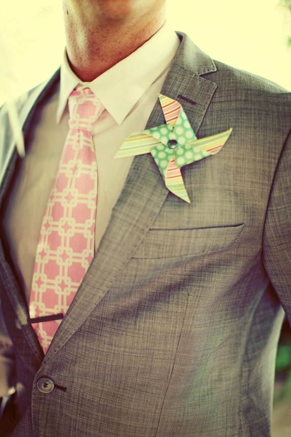 Custom Pinwheel Boutonniere or Corsage set of 3 by Rule42 As Seen on Style Me Pretty