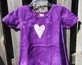 RESERVED Girls Dress: Purple with Batik Heart, Short Sleeves (2T)