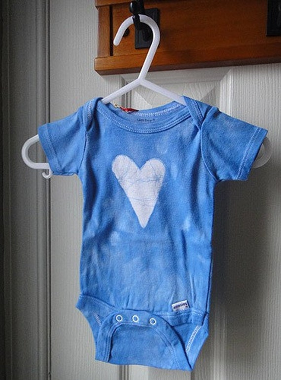 Baby Bodysuit: Blue with Batik Heart (3-6 months) READY TO SHIP