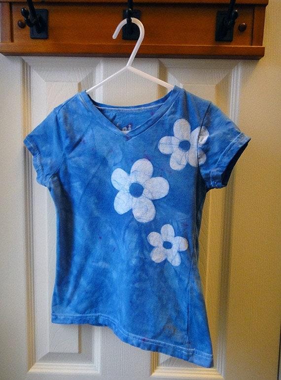 SALE Girls V-Neck Shirt: Blue with Batik Flowers (6/6X) Ready to Ship