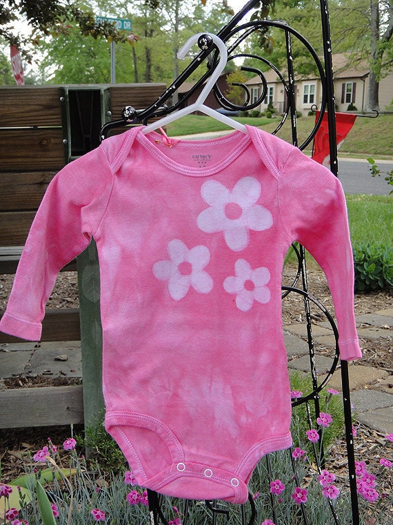 Baby Bodysuit: Pink with Batik Flowers, Long Sleeves (12 months) READY TO SHIP