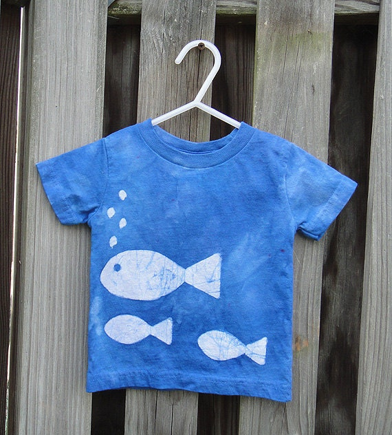 Toddler T-Shirt: Blue with Batik Fish, Short Sleeves (18 months) READY TO SHIP