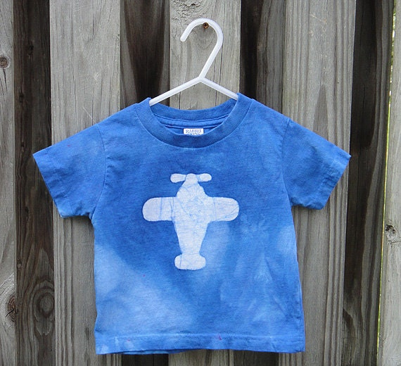 Toddler T-Shirt: Blue with Batik Airplane, Short Sleeves (2T) READY TO SHIP