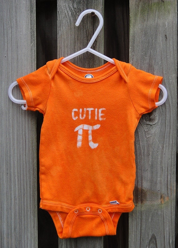 Baby Bodysuit: Bright Orange with Batik Cutie Pi (3-6 months) READY TO SHIP
