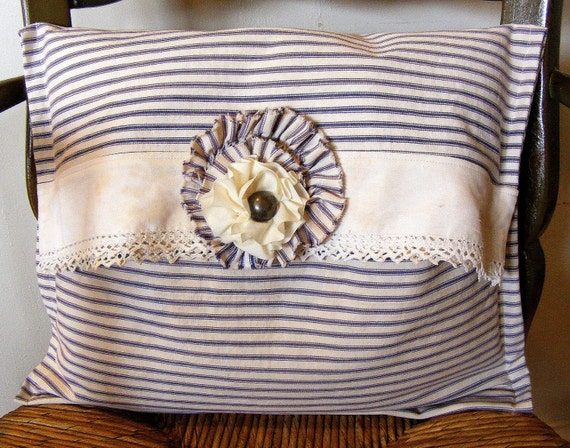 Vintage Ticking Pillow With Handmade Flower