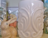Vintage Milk glass vase, tumbler, shabby chic could use for candle holder