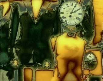 Clock Series - Clocks instead of faces with Steampunk Family Portrait - 8x10 Archival Photographic Print