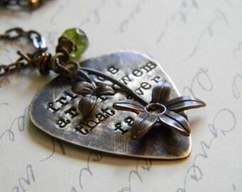 hand stamped friends vintaj brass necklace