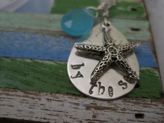 Beach lover, hand stamped, Ocean theme, by the sea necklace